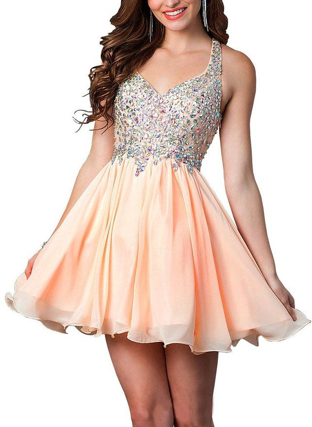 339690e2aaf Lovelybride Colorful Rhinestones Straps Short Homecoming Dress Party Gowns  at Amazon Women s Clothing store