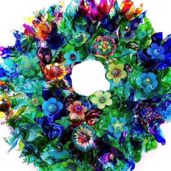 Peacock wreath recycled plastic bottle art peacock flower for Recycled flower art