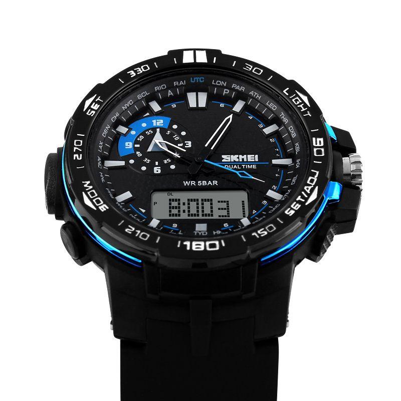 skmei big dial 1081 men sport watch dual display pu strap outdoor skmei big dial 1081 men sport watch dual display pu strap outdoor waterproof digital watches casual