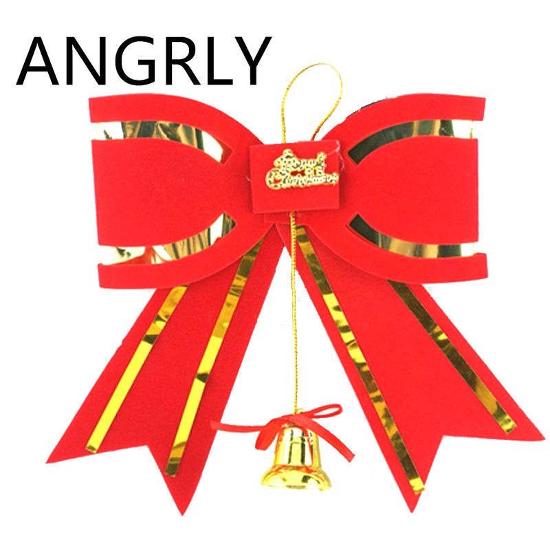 ANGRLY New Year Christmas Bell Red Big Bow Red Bow Tie Wedding