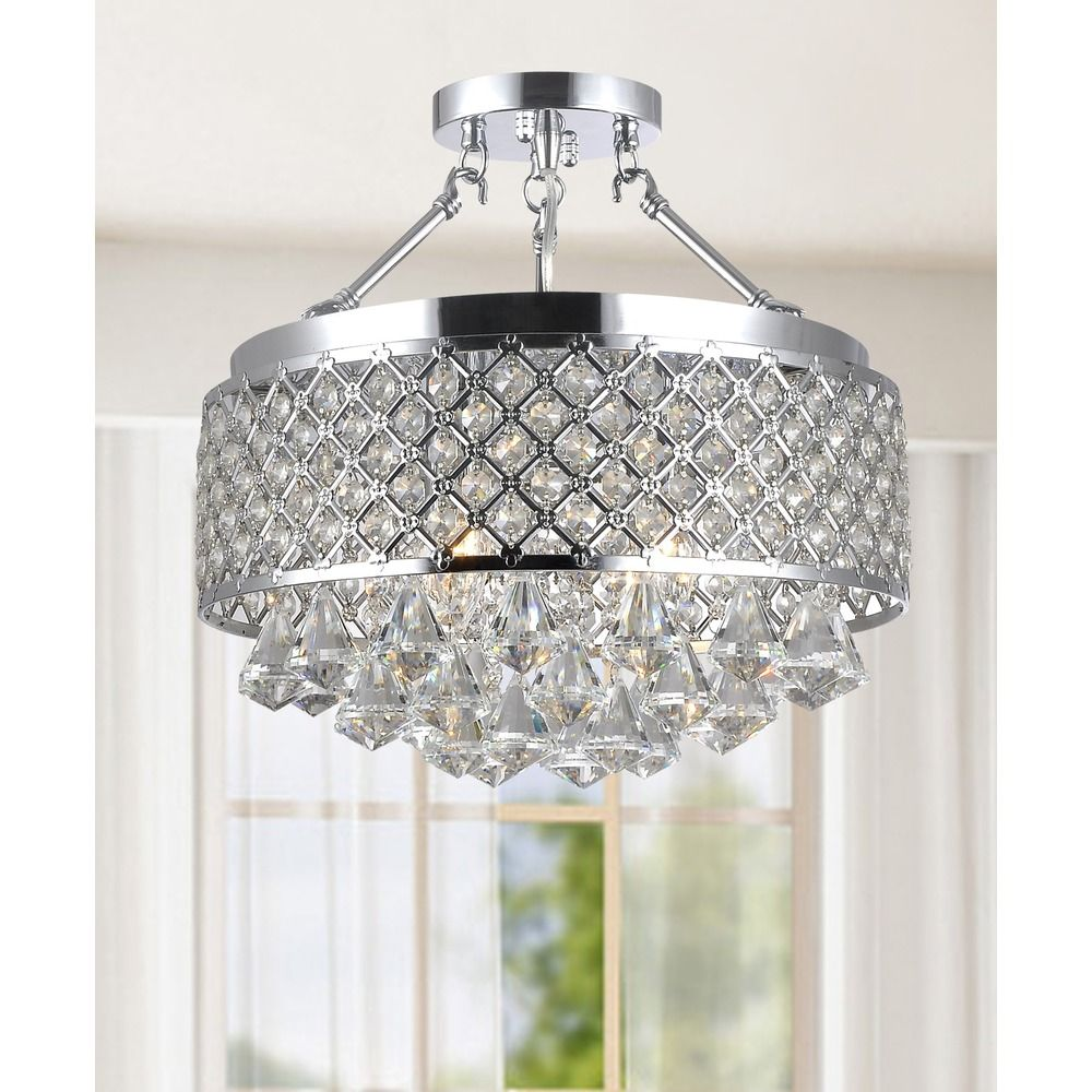 154 Candice Chrome And Crystal Semi Flush Mount Chandelier Ping Big S