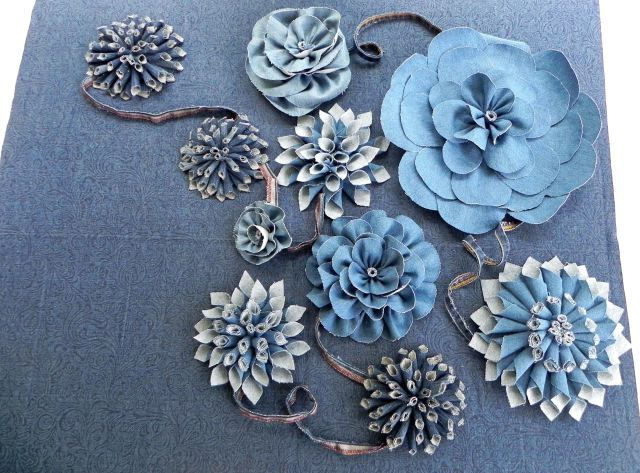 Forever in Blue Jeans Denim Fabric Flowers