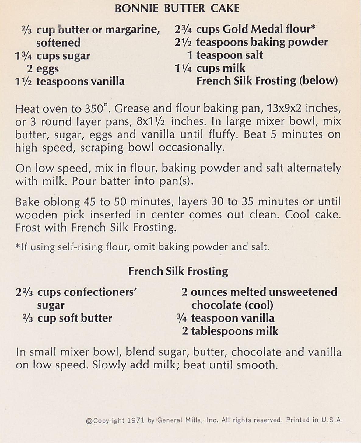Bonnie Butter Cake Recipe Betty Crocker