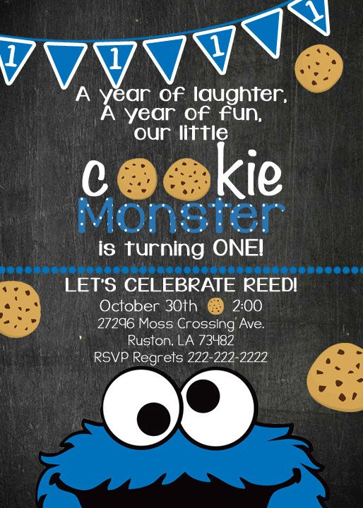 Cookie Monster Birthday Invite Invitation
