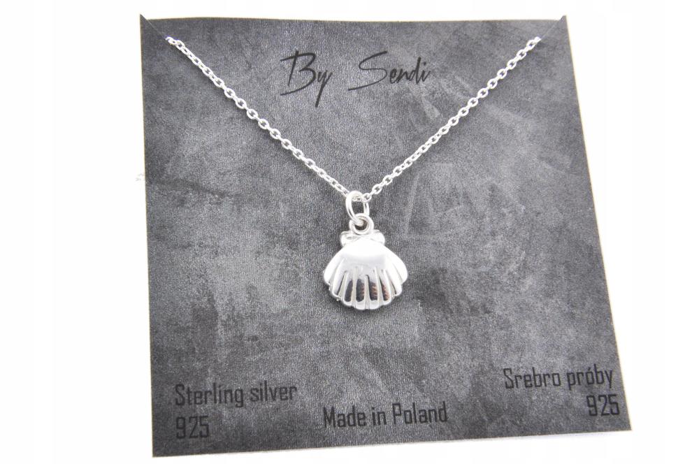 Naszyjnik Srebrny Muszla Muszelka Bali Srebro 925 Silver Necklace Jewelry
