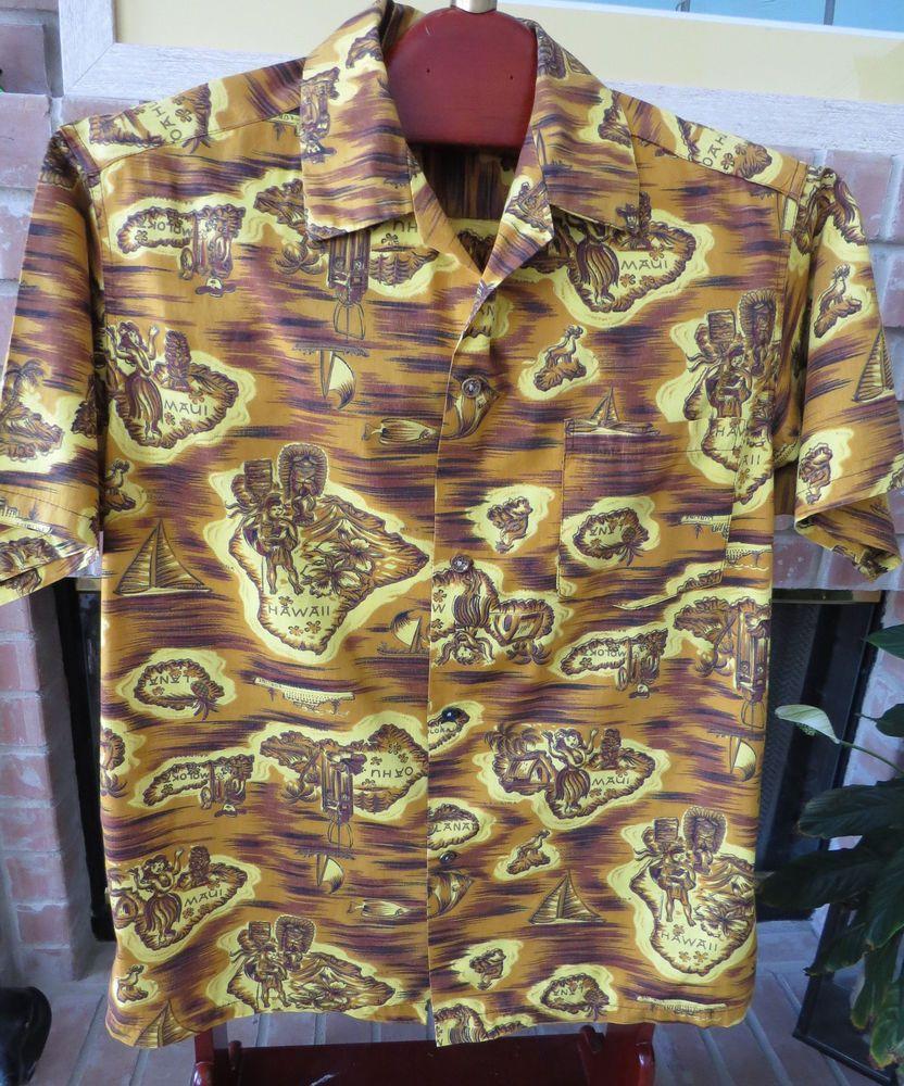 d059d9cd Vintage 1950s Mens Hawaiian Aloha Shirt Made in Hawaii - Size L - Retro Tiki