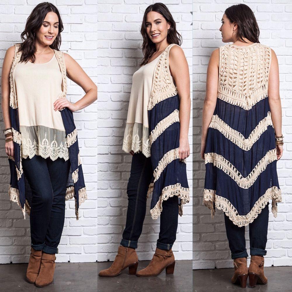 d98cdaae0e1 New UMGEE Long Drape Open Crochet Knit Sleeveless Sweater Vest Top Plus Size   Umgee