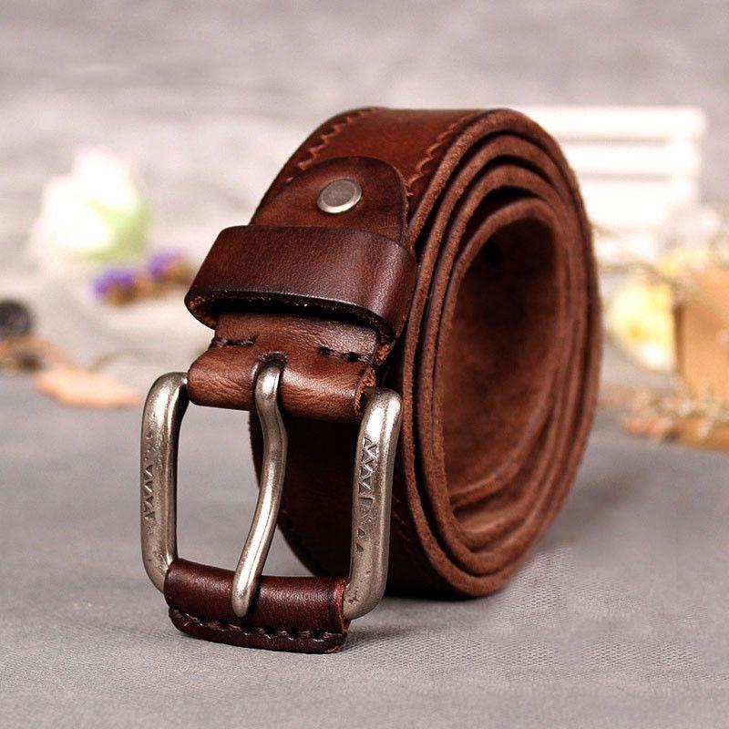 Mens Vintage Italian Fashion Leather Pin Buckle Belt