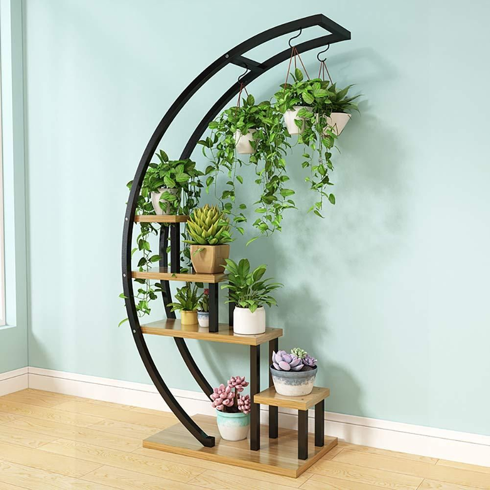 Ccsun 5 Tier Plant Stand With 3 Hooks Creative Semicircle Design Iron Wood Plant Stand Garden Decoration Display Planter Rack Shelf Organizer For Patio Home Of In 2020 Garden Rack House