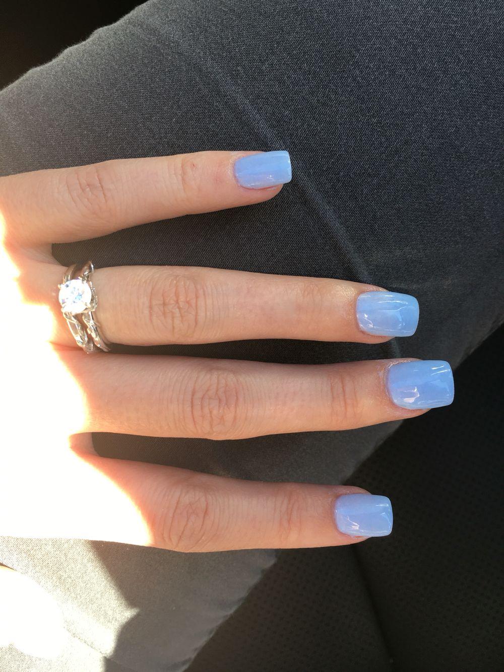 Light Blue acrylic dipped nails | Nails | Acrylic dip ...