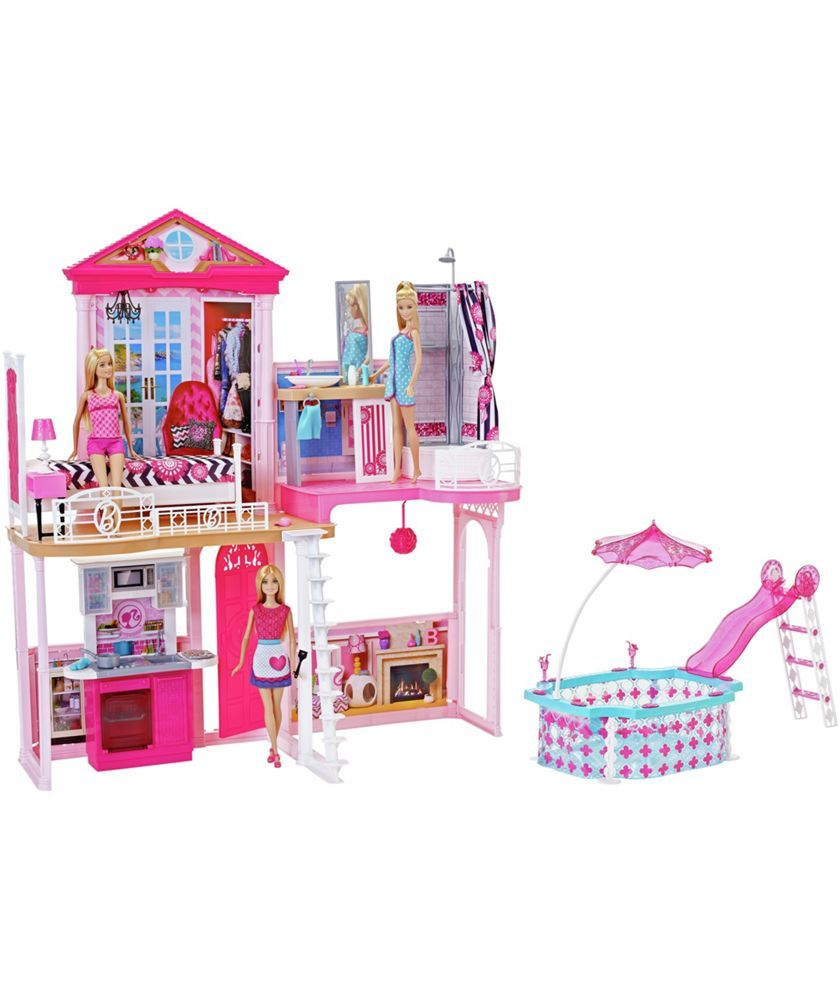 Complete Barbie Home Set With 3 Dolls And Pool