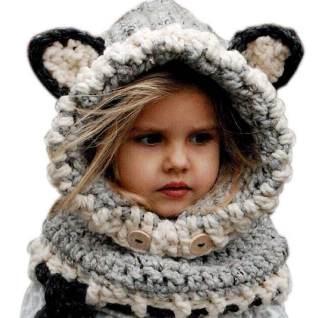 FEITONG Fashion Cute Winter Warm Wool Knitted Fox Hats Baby Boys ...