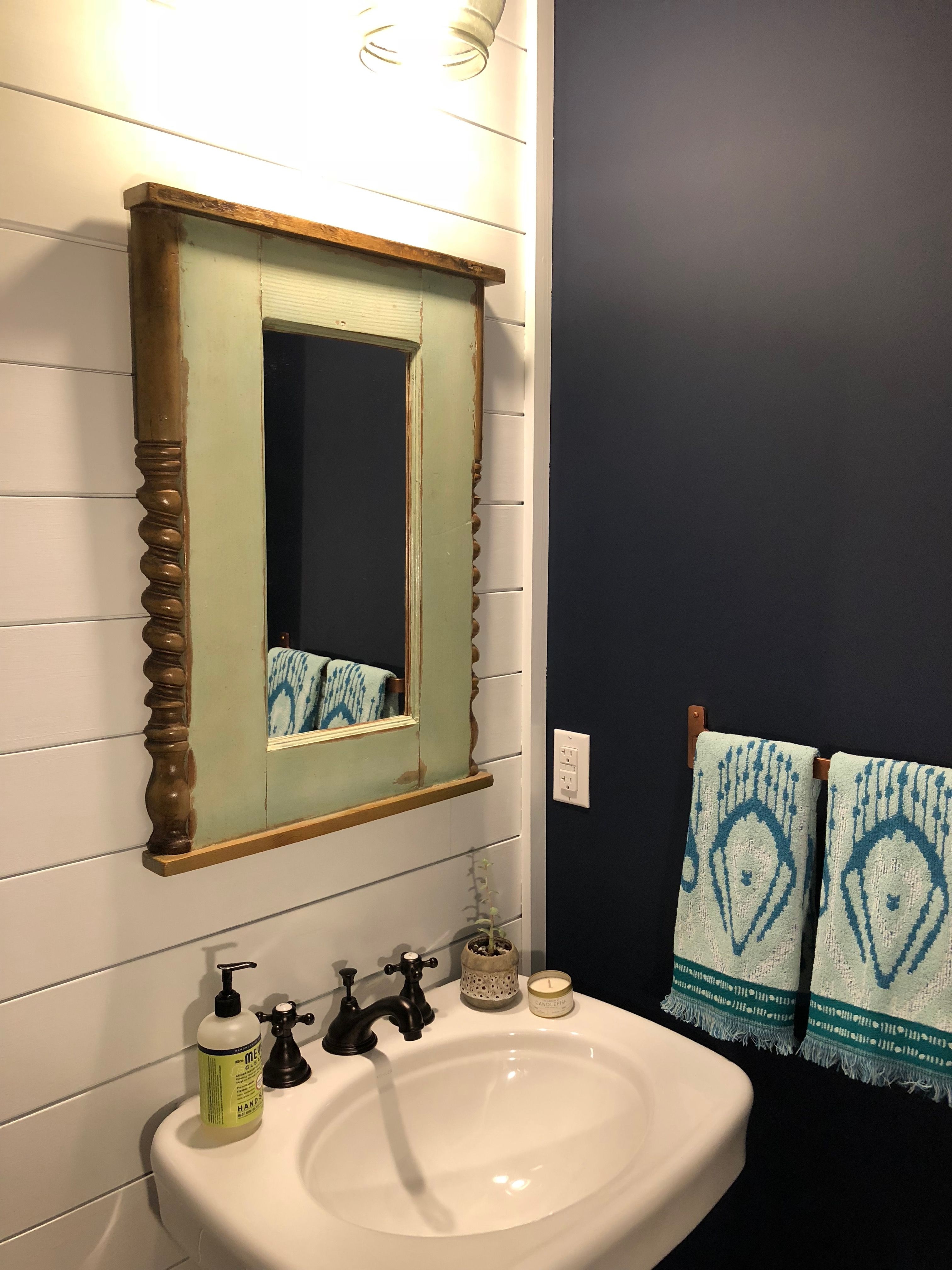 Navy And White Powder Room And Painted Ceilings Powder Room