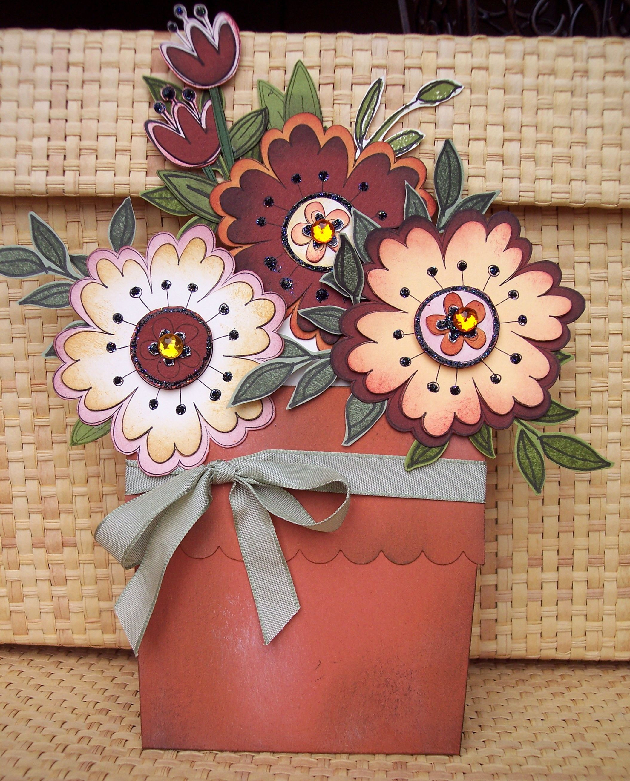 Mothers Day Flower Pote Flowers Pull Out To Expose The