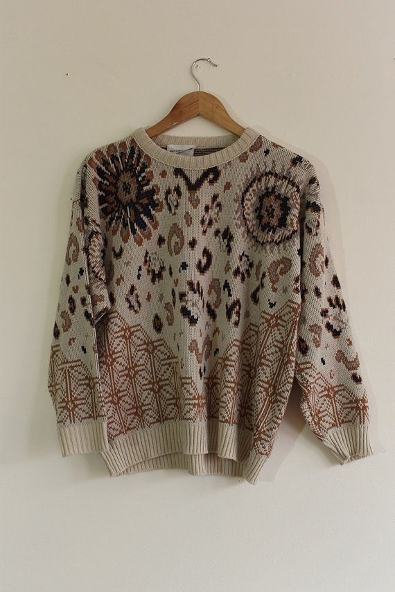 Vintage 90s Beige Crew Neck Sweater // Floral and Geometric Patterns // Size Medium - Large