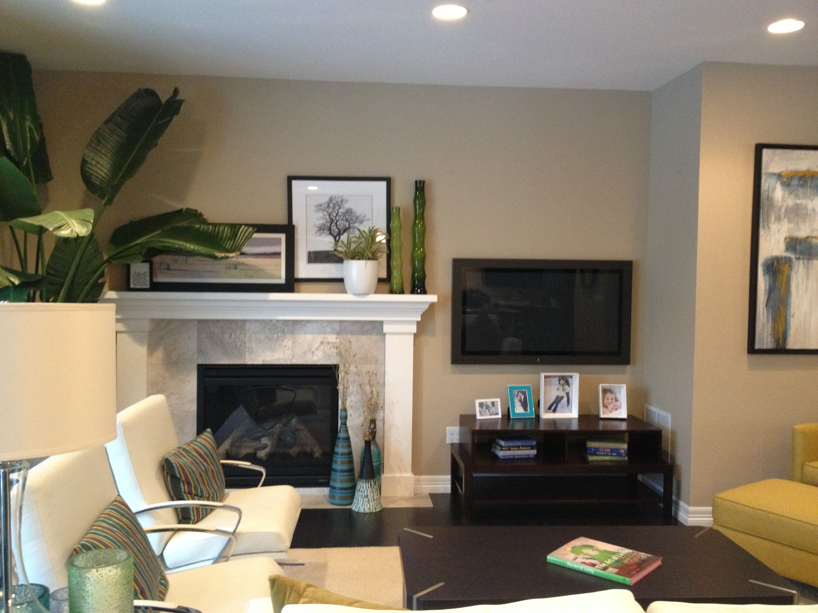 how to design living room with fireplace and tv country gray walls next not above home decor pinterest