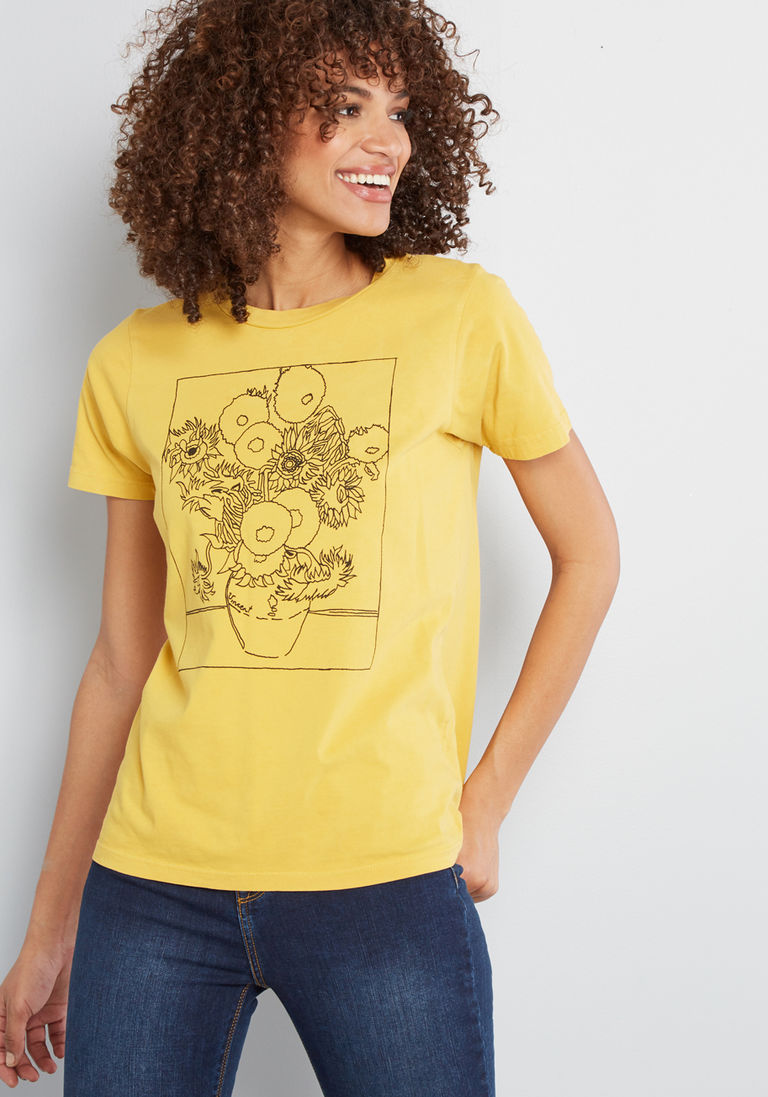 9f13cec0 Feeling Fine Art Graphic T-Shirt in XL - Short Sleeves Mid-length by  ModCloth
