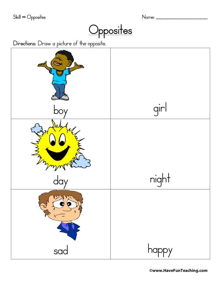 Opposites Drawings Worksheet Have Fun Teaching Have Fun Teaching Opposites Worksheet Teaching Vocabulary Opposites worksheet kindergarten