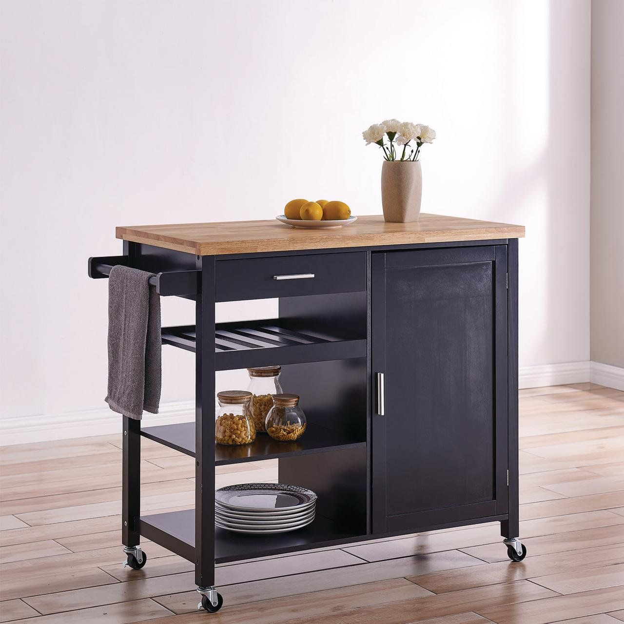 Belleze Wood Top Multi Storage Cabinet Rolling Kitchen Island Table Cart With Wheels Black Walmart Com Rolling Kitchen Island Kitchen Island Table Kitchen Cart