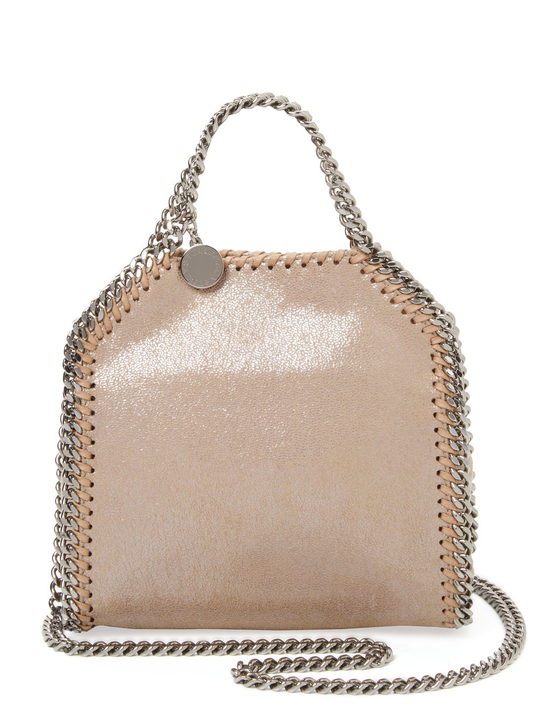 49eb78c44da5c STELLA MCCARTNEY WOMEN S FALABELLA METALLIC TINY TOTE - CREAM TAN.   stellamccartney  bags  polyester  tote  lining  metallic  shoulder bags  hand  bags