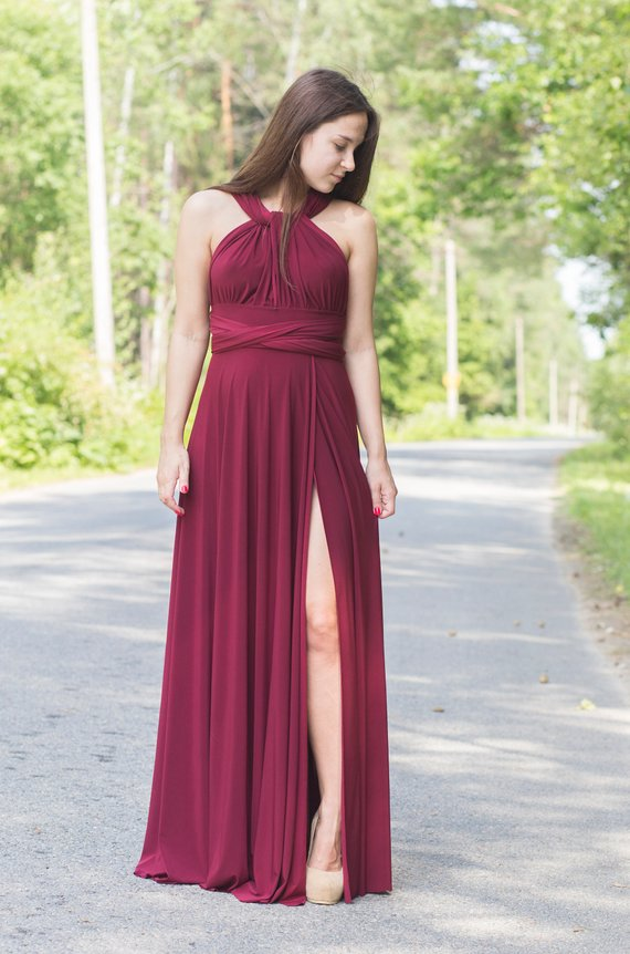 6ed25863a4 Burgundy wine Bridesmaid dress with a slit