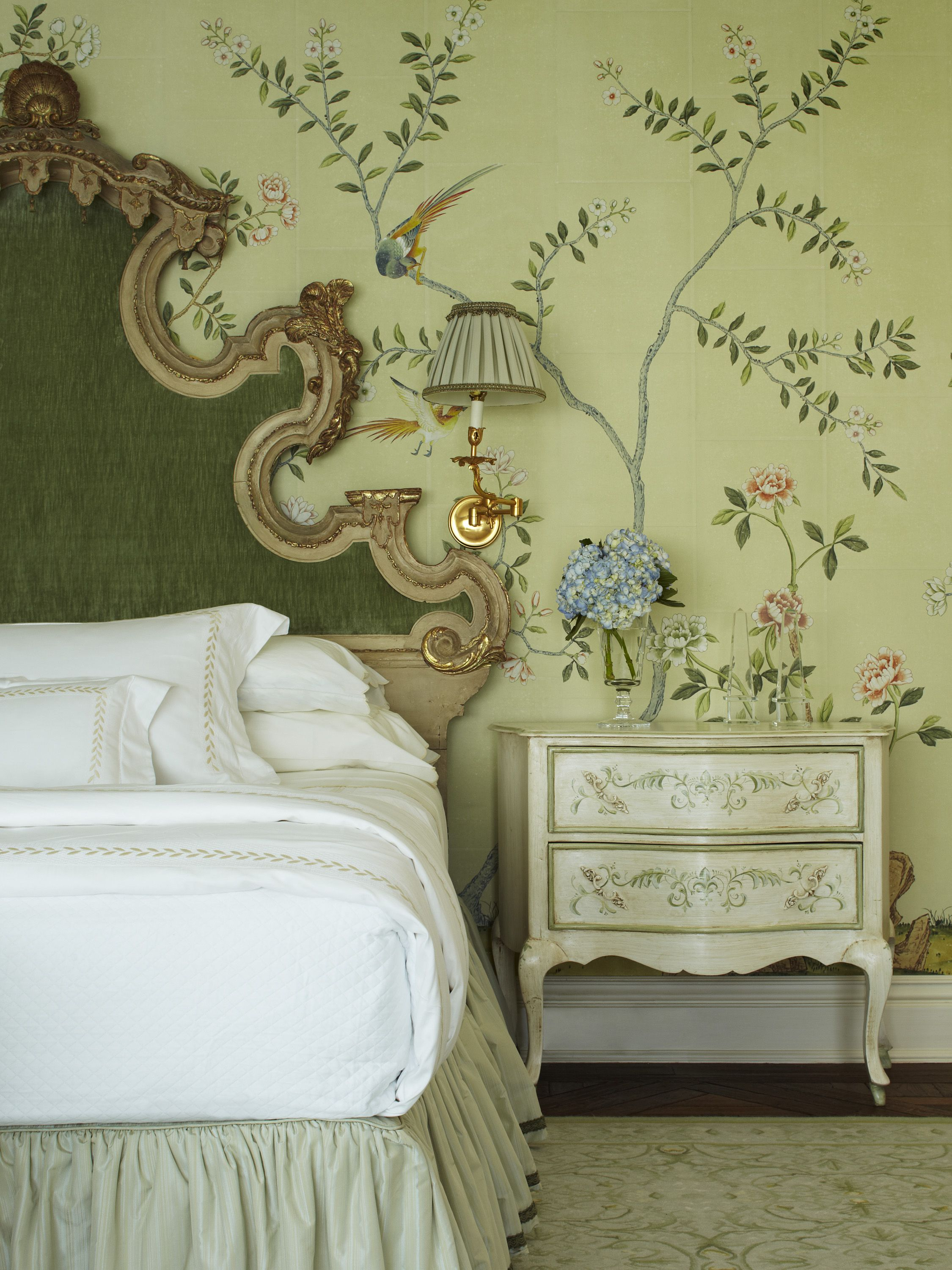 Hand Painted Wallpaper In A Room Designed By Katherine Shenaman