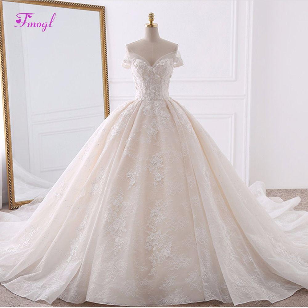 Vestido de noiva appliques lace flowers princess wedding dresses