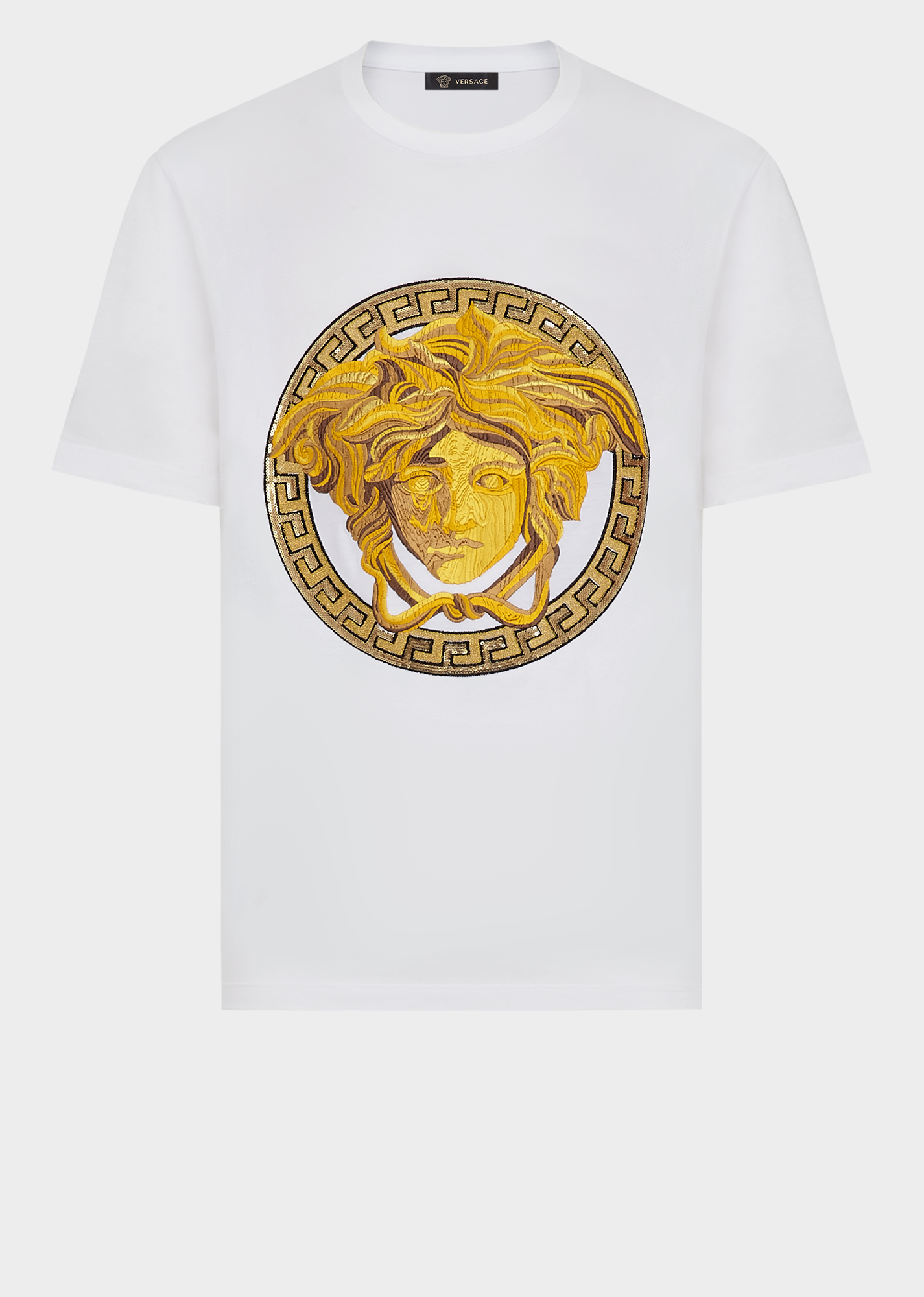 Versace Embroidered Medusa T Shirt In White Modesens Shirts Mens Shirts Mens Tshirts