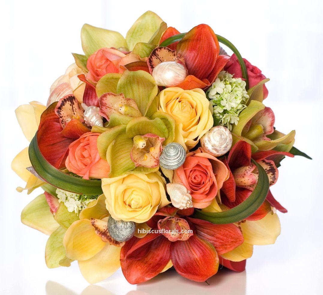multicolororchidsrosesbeachweddingrealtouchbouquet