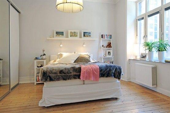 Swedish 58 Square Meter Apartment Interior Design with Open Floor - kleines schlafzimmer einrichten tipps