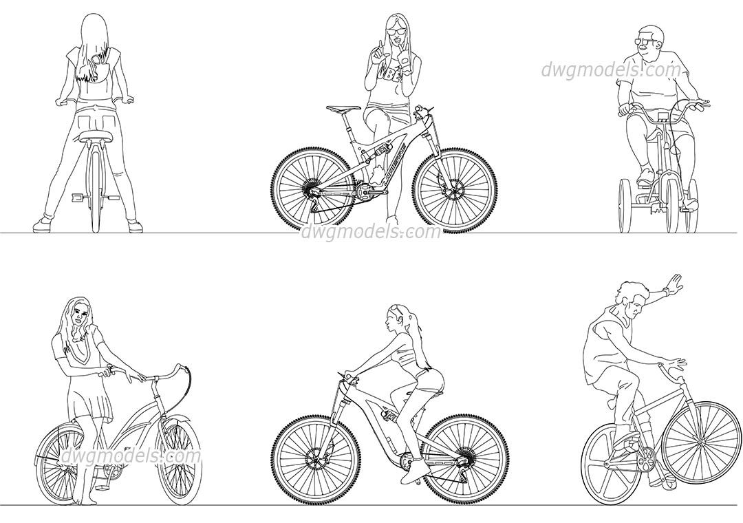 People Ride A Bicycle Cad Blocks Free Dwg File