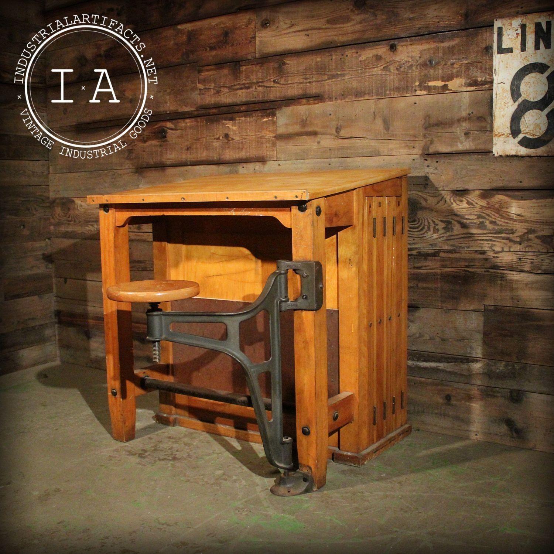 Vintage Industrial Maple Student Drafting Table Desk Cast
