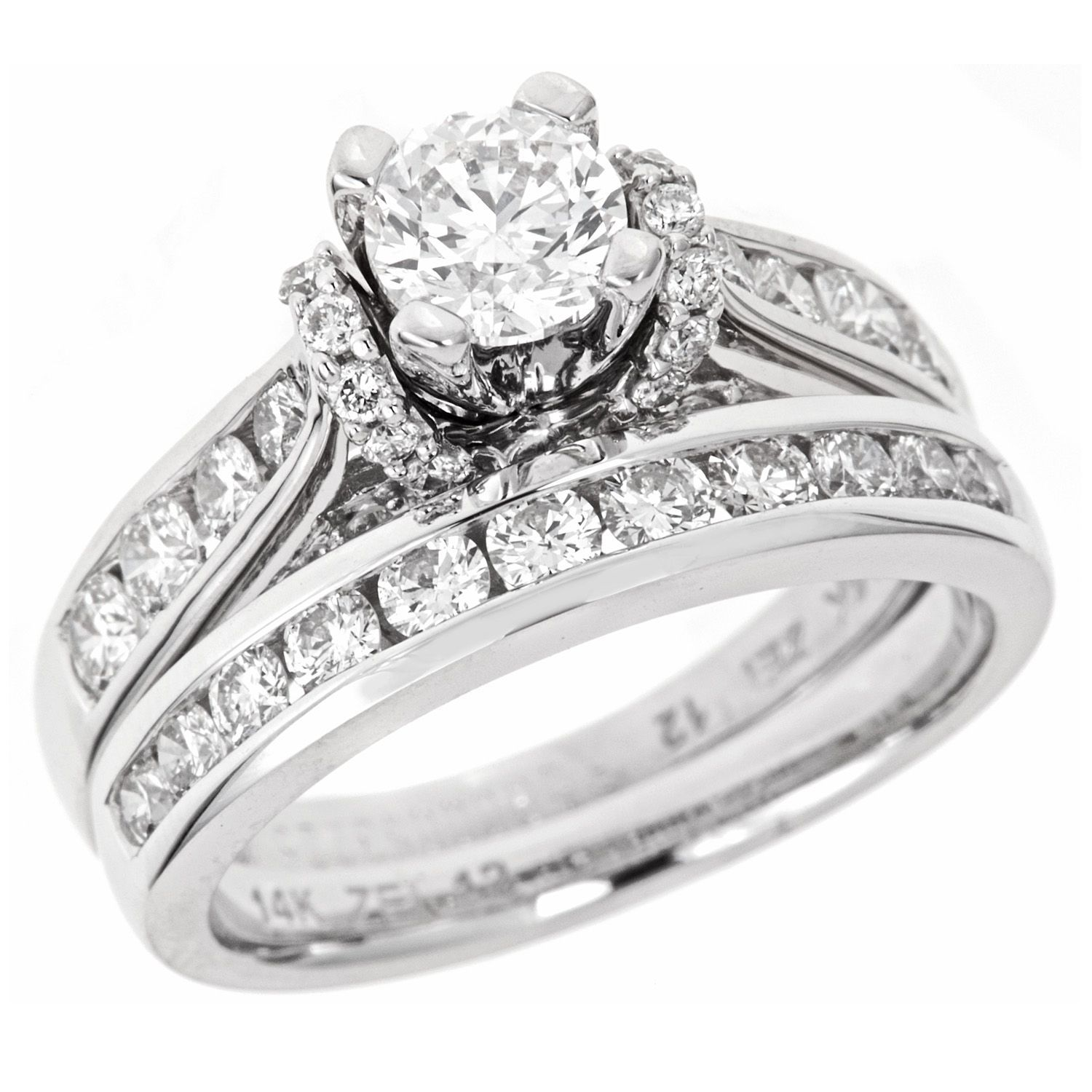 2 00 CT T W Regal Diamond Bridal Ring Set in 14K White Gold I
