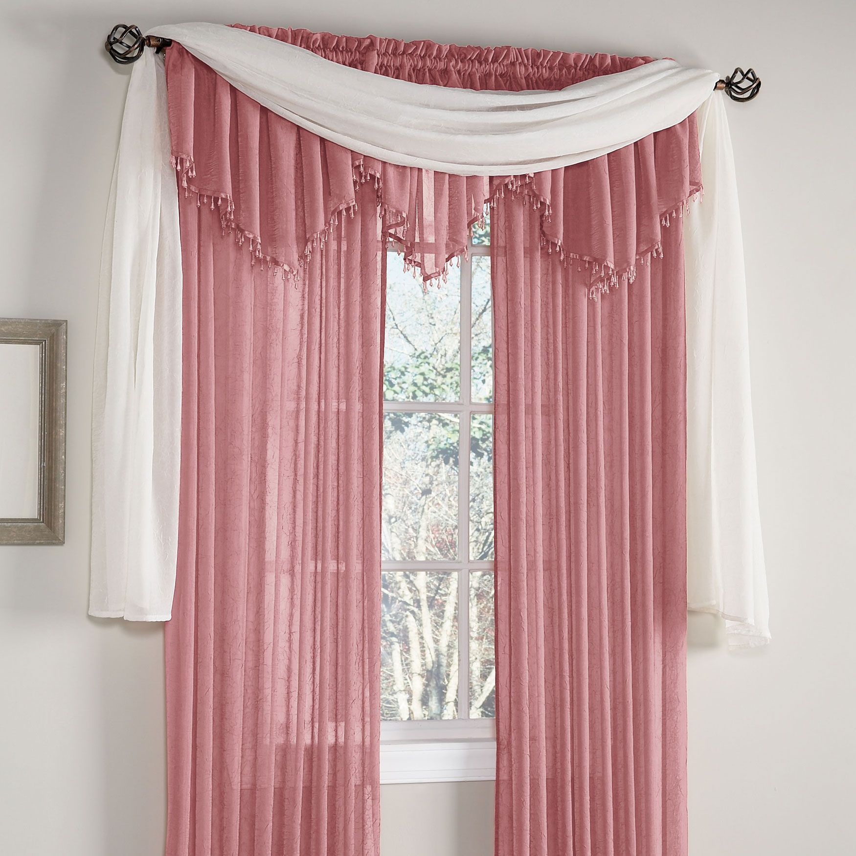 Crushed Voile Rod Pocket Panel Scarf Valance Curtains