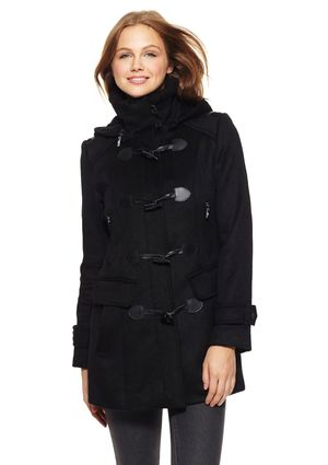 COLE HAAN Double-Bonded Wool Toggle Coat with Hood