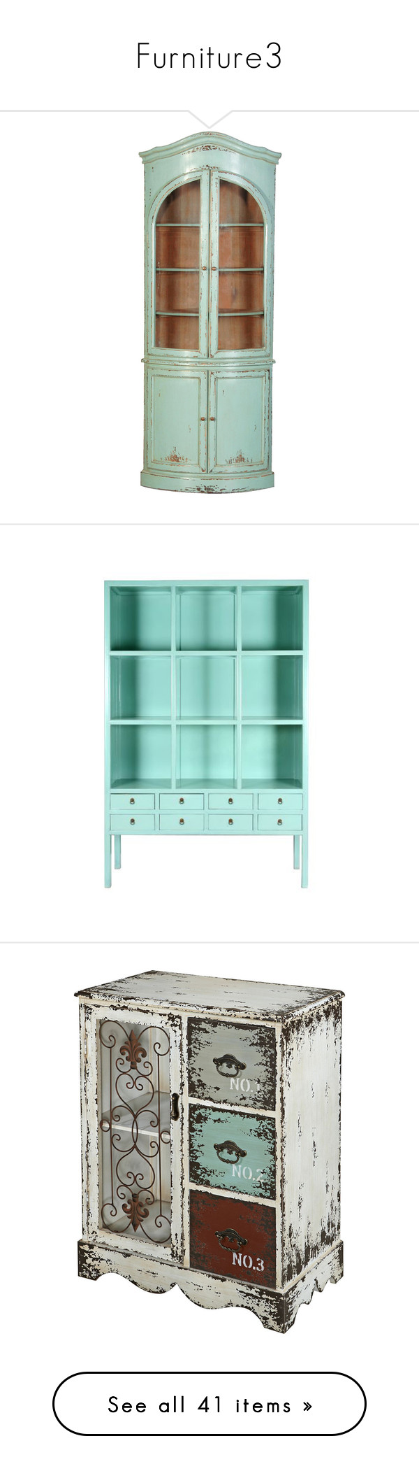 """Furniture3"" by dream-ended-this-way ❤ liked on Polyvore featuring home, furniture, storage & shelves, cabinet, interior design, handmade furniture, turquoise furniture, mahogany furniture, hand made furniture and french furniture"
