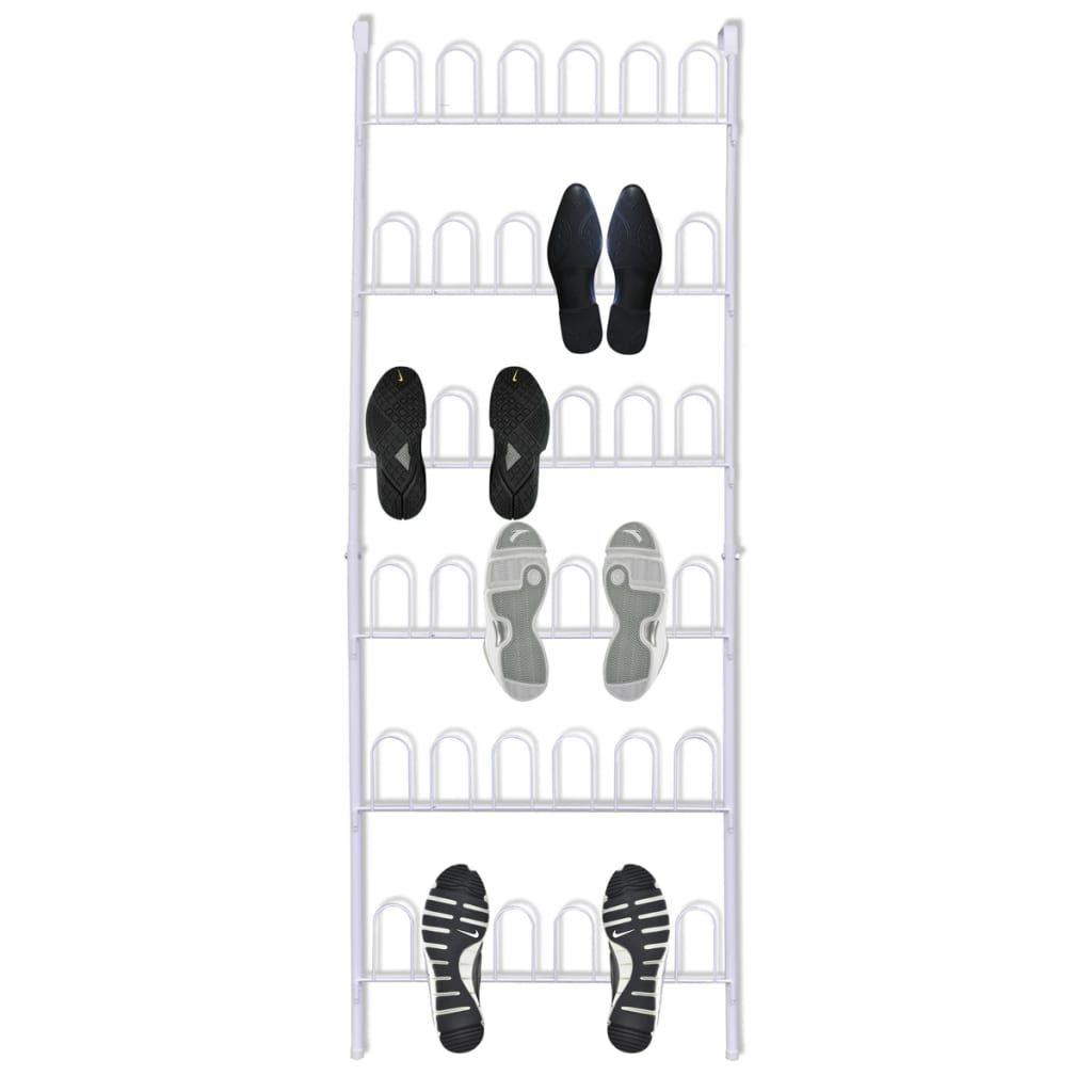 vidaXL White Steel Shoe Case for 18 Pairs of Shoe …