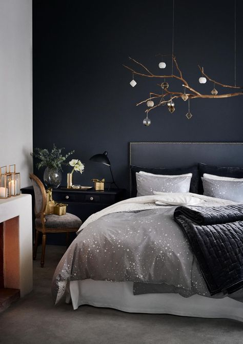 chambre mur bleu nuit hm2 deco pinterest murs bleus