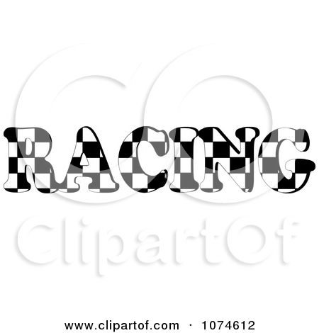 Clipart The Word RACING With A Checkered Flag Pattern - Royalty ...