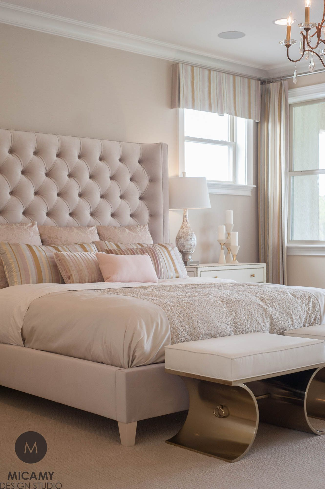 Modern Glam Master Bedroom Gold Ottomans Tufted Headboard Pink