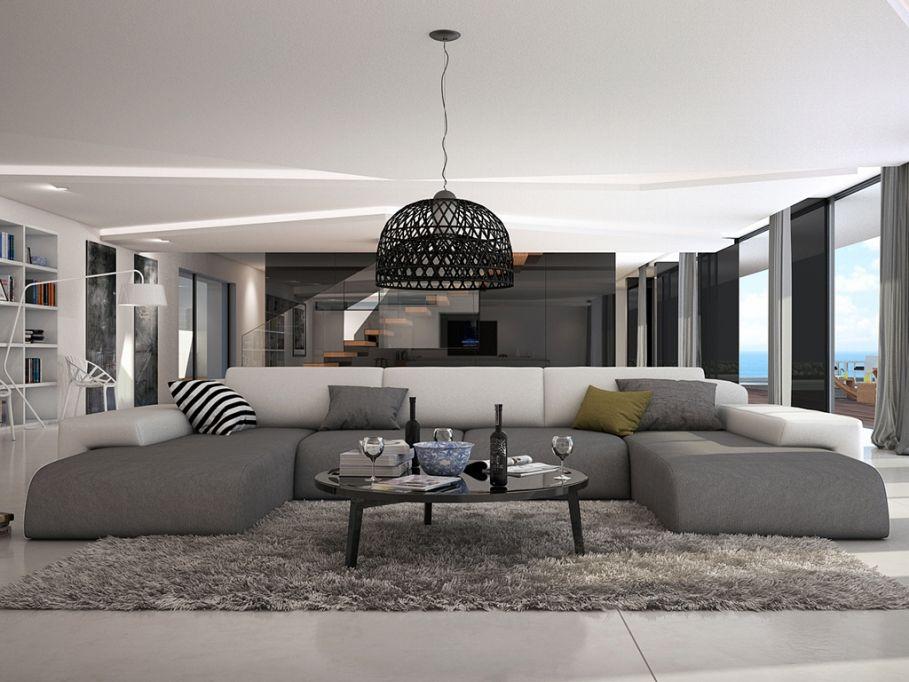 Canape Panoramique 7 Places En Simili Sicile Bicolore Blanc Et Gris Deco Salon Salon Moderne Idee Deco Salon