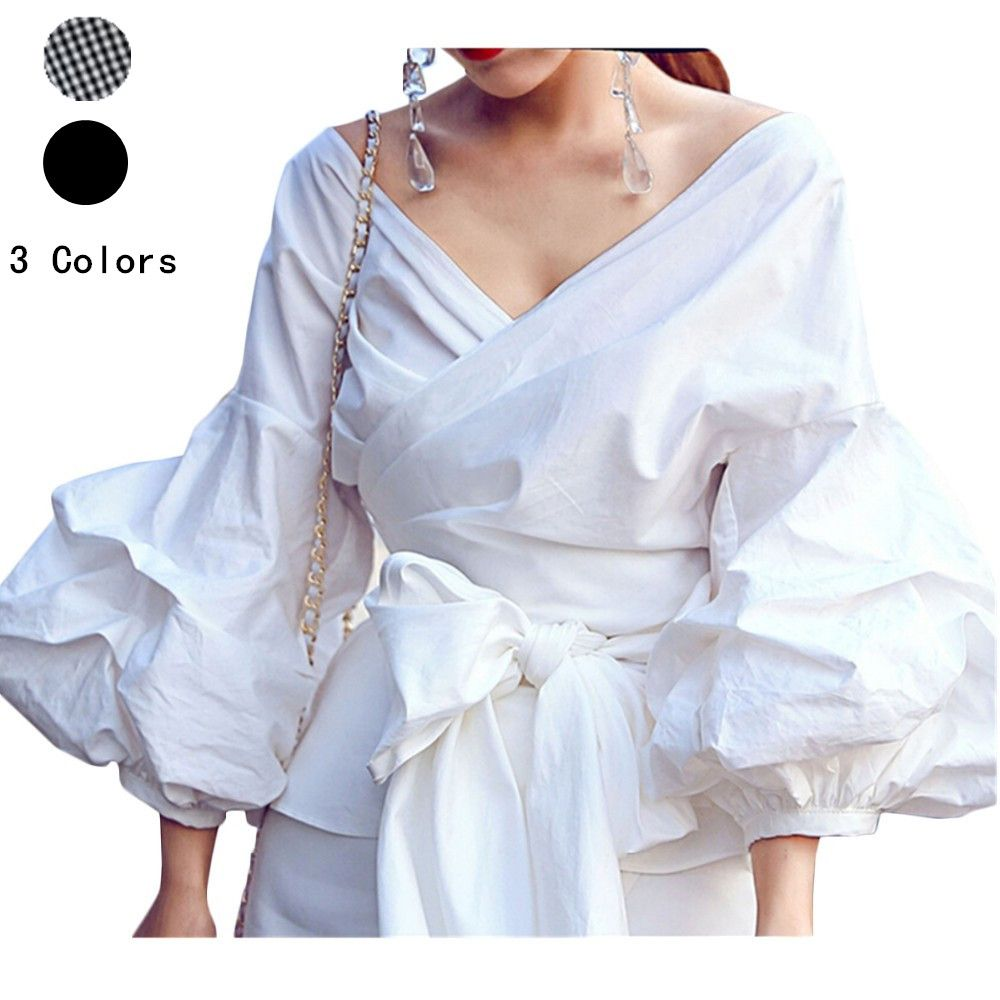 0635956ce5 US-DEALS Women Fashion White Puff Sleeve Blouse V Neck Elegant Lady  Partywear Shirts Tops   16.80 End Date  Saturday Apr-7-2018…% USDeals%