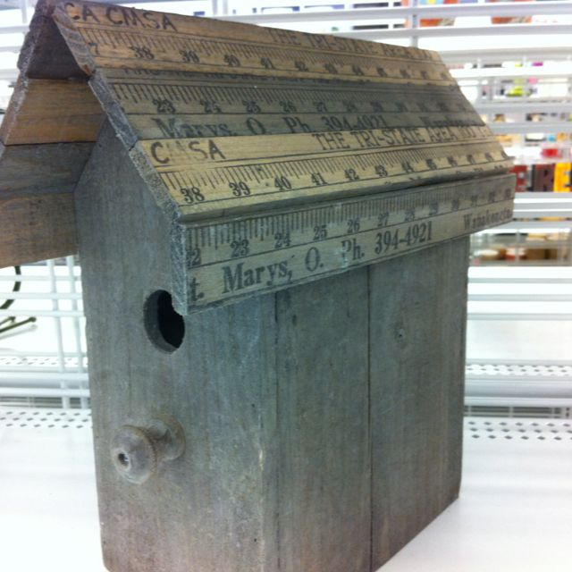 Birdhouses rule!  Especially when the roof is made of yardsticks!