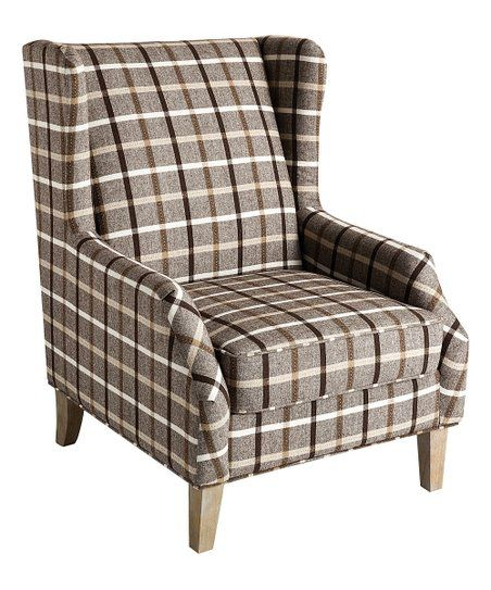 Scott Living Causal Grey Accent Chair: Scott Living Gray & White Plaid Accent Chair