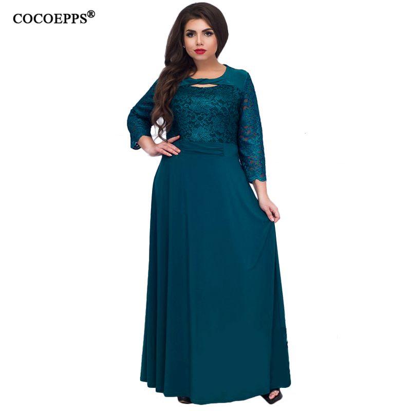 e8aeb19b693a5 COCOEPPS 6XL 5XL Lace Patchwork Women Dress 2018 Autumn Style Plus Size  office Big Large Size Dress Casual Loose blue Dresses