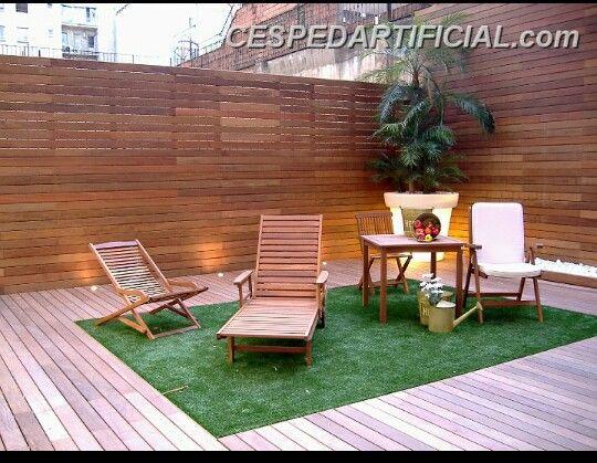 Terraza suelo madera con c sped terrazas y jardines pinterest - Suelo terraza madera ...