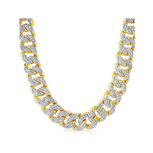 ROIAL Jumbo Diamond Cuban Necklace ($199) ❤ liked on Polyvore featuring  men's fashion,