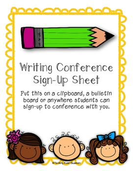 writing conference sign up sheet the berry sweet classroom tpt
