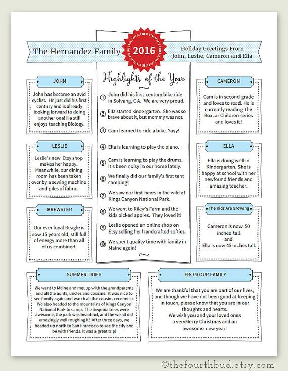 Year In Review / Christmas Letter Template in PDF for
