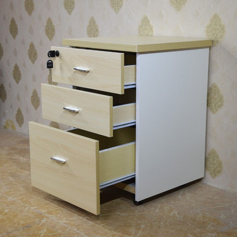 Top Selling Modern Office Furniture Combination Lock 3 Drawer Wood File  Cabinet With Wheels